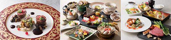 (左から)仏蘭西料理「プルミエ」、日本料理「曙」、鉄板焼「梅野」