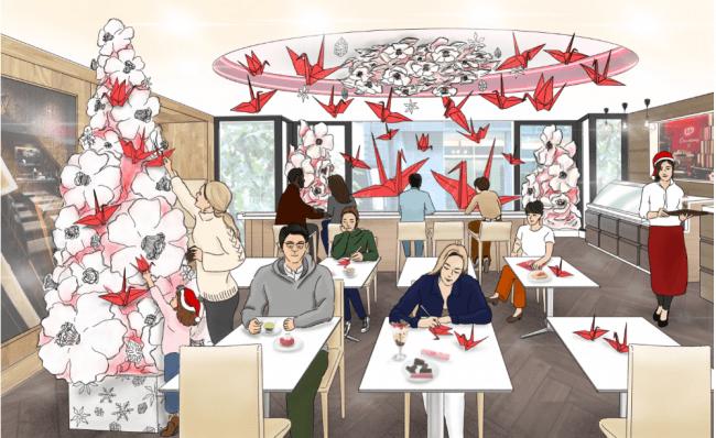 「折り鶴」に乗せた想いは「キット、届く」「キットカット」の紙パッケージを折って飾るペーパークリスマスツリーが登場「折り鶴で、想いを伝えるクリスマス」11月6日(水)~12月25日(水)まで開催