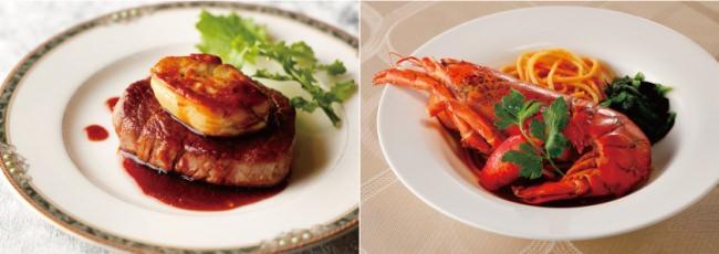 左:道産牛ヒレ肉とフォアグラのソテー ロッシーニ仕立て トリュフ風味のソースで  右:オマール海老のヴァプール リングイネパスタとアメリカンソースで