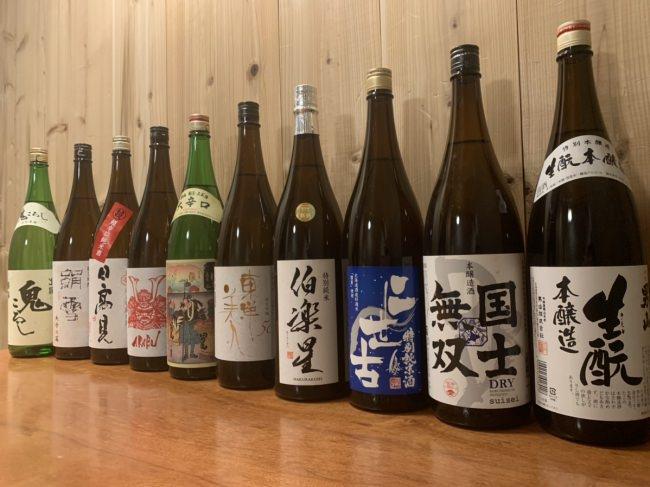 北海道の地酒を中心に約20種類