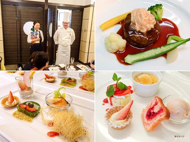 左上:料理長や野菜ソムリエよりイチゴにまつわる話をお届けします 右上・左下・右下:過去のイチゴイベントの料理