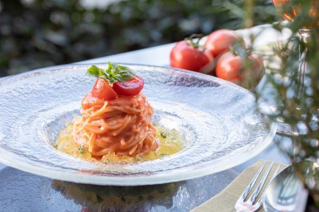 フルーツトマトの冷製アラビアータ ブラータソース