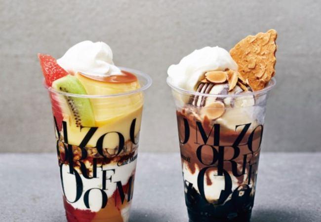 (左)プリンアラモードパフェ(右)チョコレートパフェ (モカ)