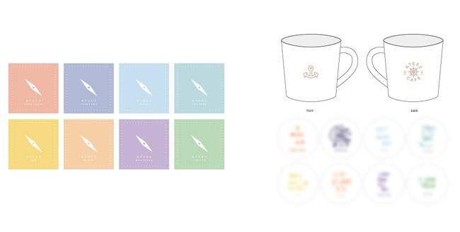 バンダナ(全8種)、マグカップ(全8種)