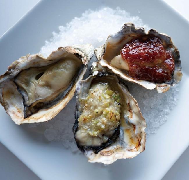牡蠣の温菜盛り合わせ