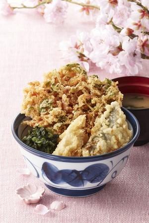 素材内容: 桜海老のかき揚げ(三つ葉入り)、鰆 ( さわら ) 、筍 ( たけのこ ) 、広島菜のせ(青じそ風味)