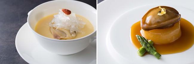 (左)烏骨鶏卵の茶碗蒸し ツバメの巣と蛤(右)岩手県産干し鮑 オイスターソース煮