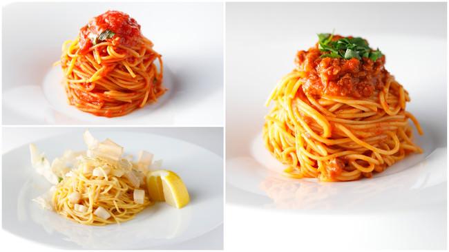左上)ゼンブ・ヌードルと完熟トマトの極みポモドーロ、左下)ゼンブ・ヌードルとホタテ貝の和風仕立て、右)ゼンブ・ヌードルと大豆ボロネーゼ
