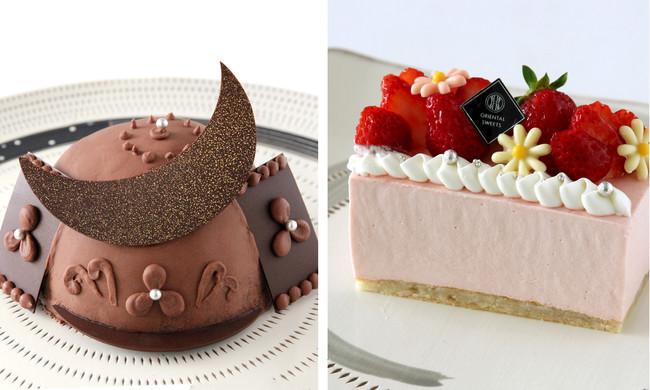 [左] こどもの日 兜ケーキ / [右] 母の日 あまおうケーキ