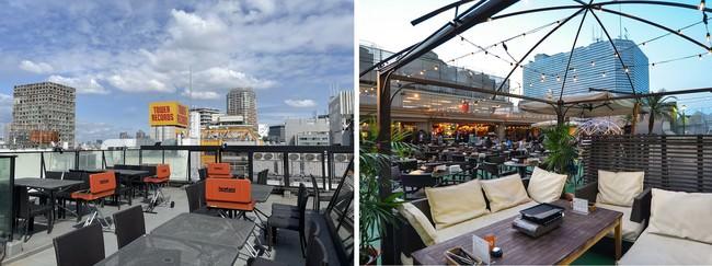 写真左:渋谷 神南軒ルーフトップBBQ、右:横浜モアーズBBQビアガーデン