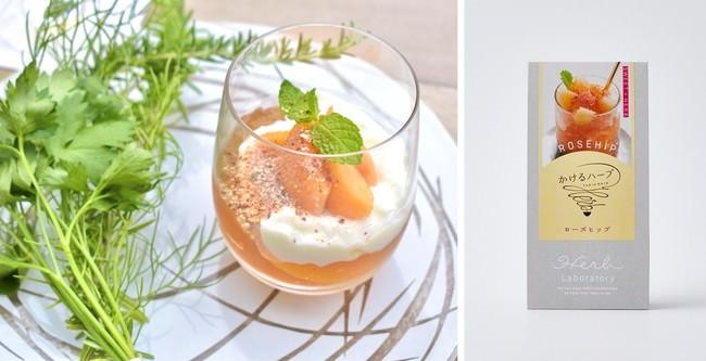 ローズの紅茶ゼリーと杏仁豆腐  季節のフルーツ      &かけるハーブ/ローズヒップ(有機ローズヒップ、てん菜糖)