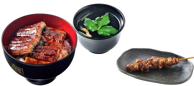 一番人気のうな丼ダブル(左)、肝吸い(中)、肝串(右)