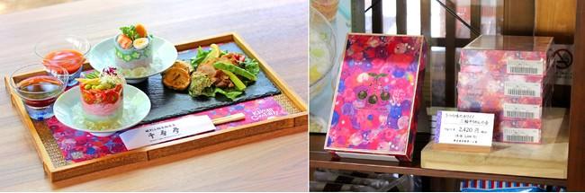 左:特別メニュー(盛り付けのイメージです)、右:5つの味のカワイイ 三輪そうめんの店頭販売風景