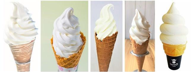 左からブラウンスイスプレミアムソフトクリーム・究極の無添加はちみつソフトクリーム・放牧牛乳ソフトクリーム・みるくのそふと・最高峰有機牛乳のもこもこソフト