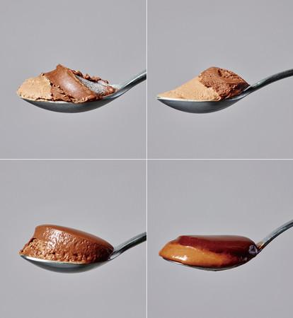 (左上より)冷凍,半解凍,完全解凍,微加熱