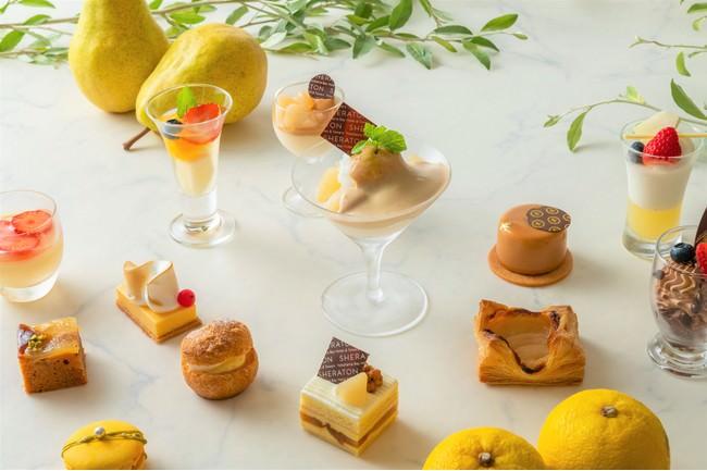 イエローのグラデーションが美しい 洋梨と柚子のスイーツ