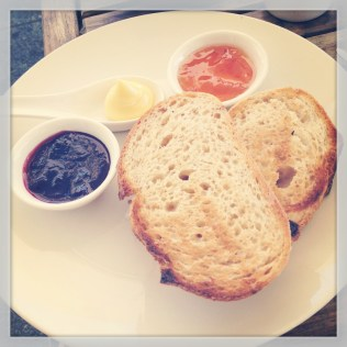 Sourdough bread with preserves.