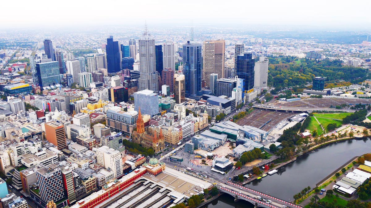Blick auf Melbourne vom Skydeck der 88. Etage des Eureka Centers