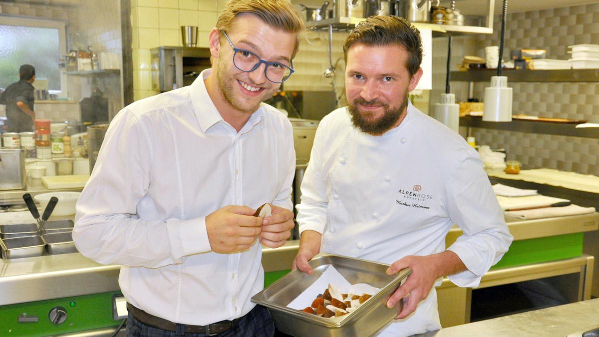 Höchsten Anspruch an die Qualität: Hotelier Stephan Mauracher und Küchenchef Markus Heimann. Foto WR