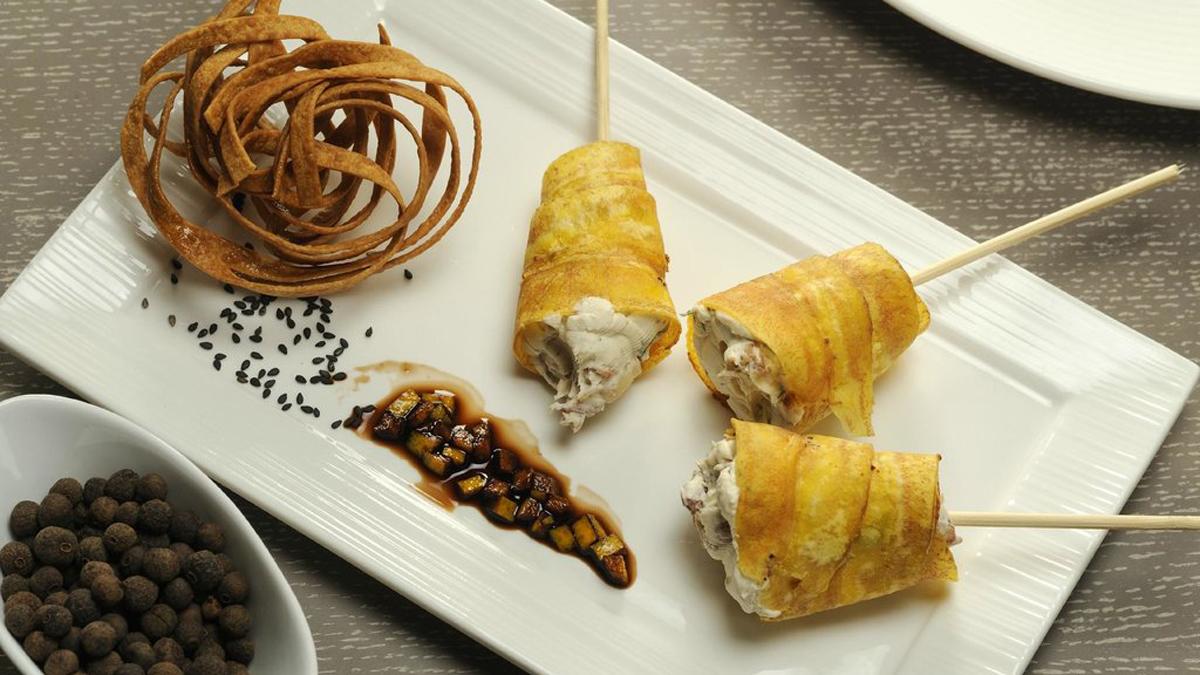 Ottava Nota: Frittierte Zucchini, gefüllt mit Branzino-Farce. Foto Ottava Nota