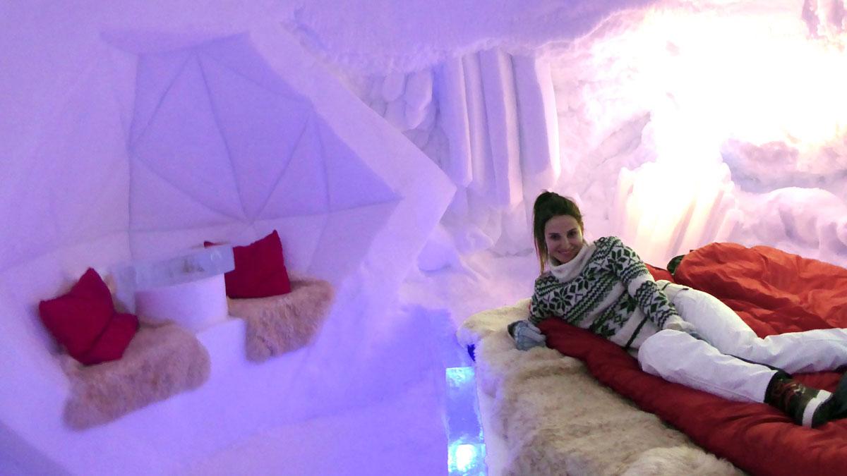 Geschlafen wir auf einem Podest aus Eis. Foto IH