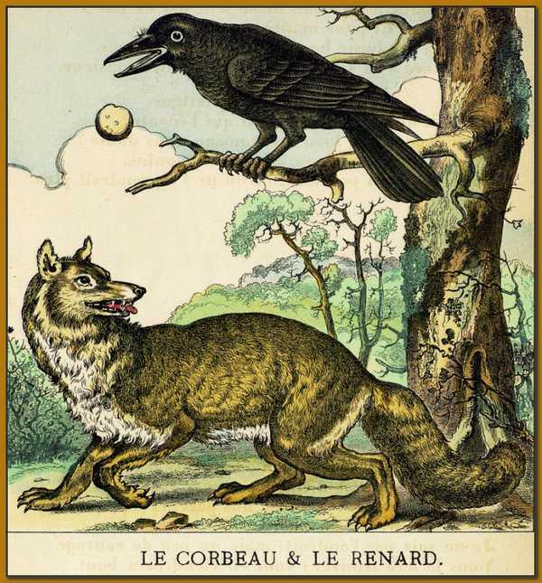 La fable de la Fontaine du corbeau et du renard