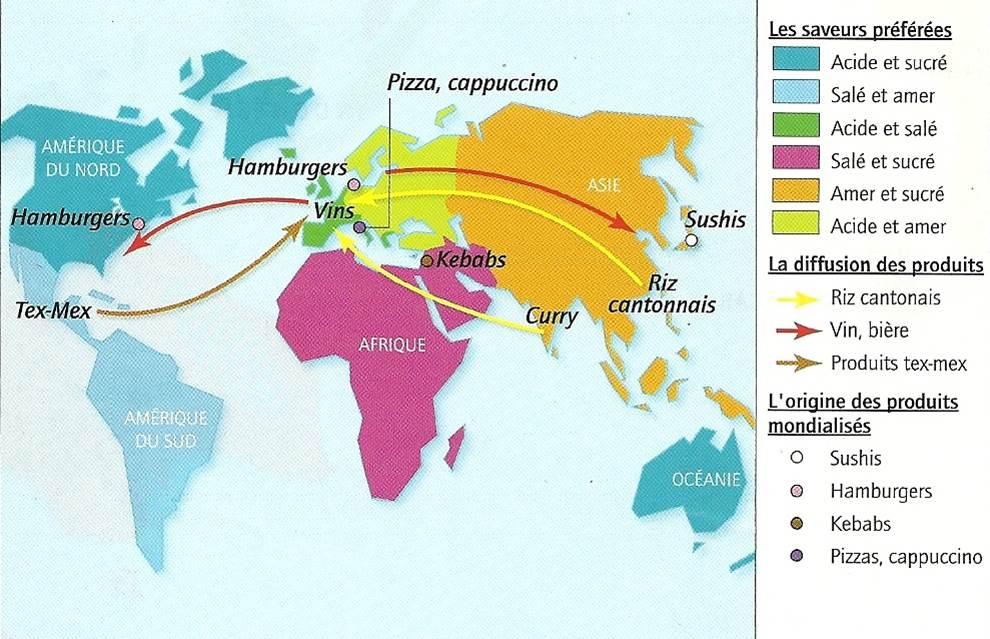 Cartographie et géographie simplifiées des goûts alimentaires