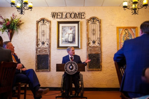Governor Abbott gives remarks at Montelongo's Mexican Restaurant in Lubbock, Texas.
