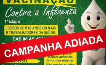 GOVERNADOR CELSO RAMOS - COMUNICADO: CAMPANHA DE VACINAÇÃO É ADIADA