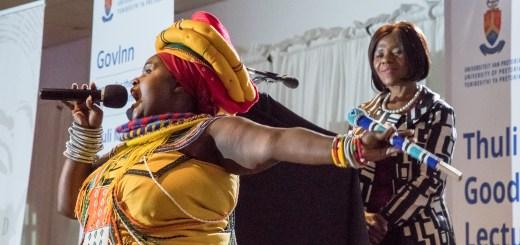 Poet Jessica Mbangeni paying tribute to Adv Madonsela