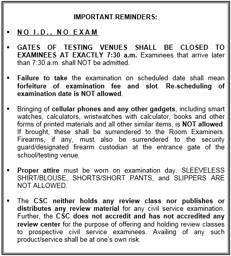 Civil Service Exam Reminders
