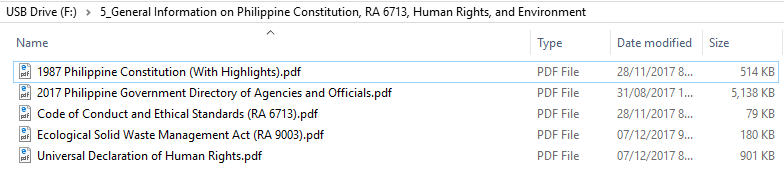 General Information on Philippine Constitution, RA 6713, Human Rights, and Environment