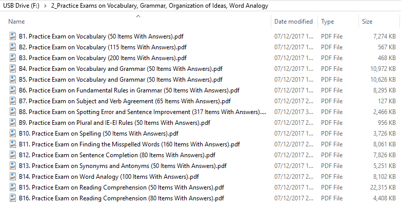 Practice Exams on Vocabulary, Grammar, Organization of Ideas, Word Analogy