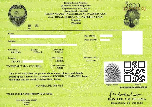 Sample NBI Clearance