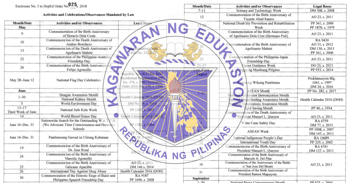 deped calendar of activities for 2018 to 2019
