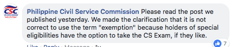 Exemption in CSE