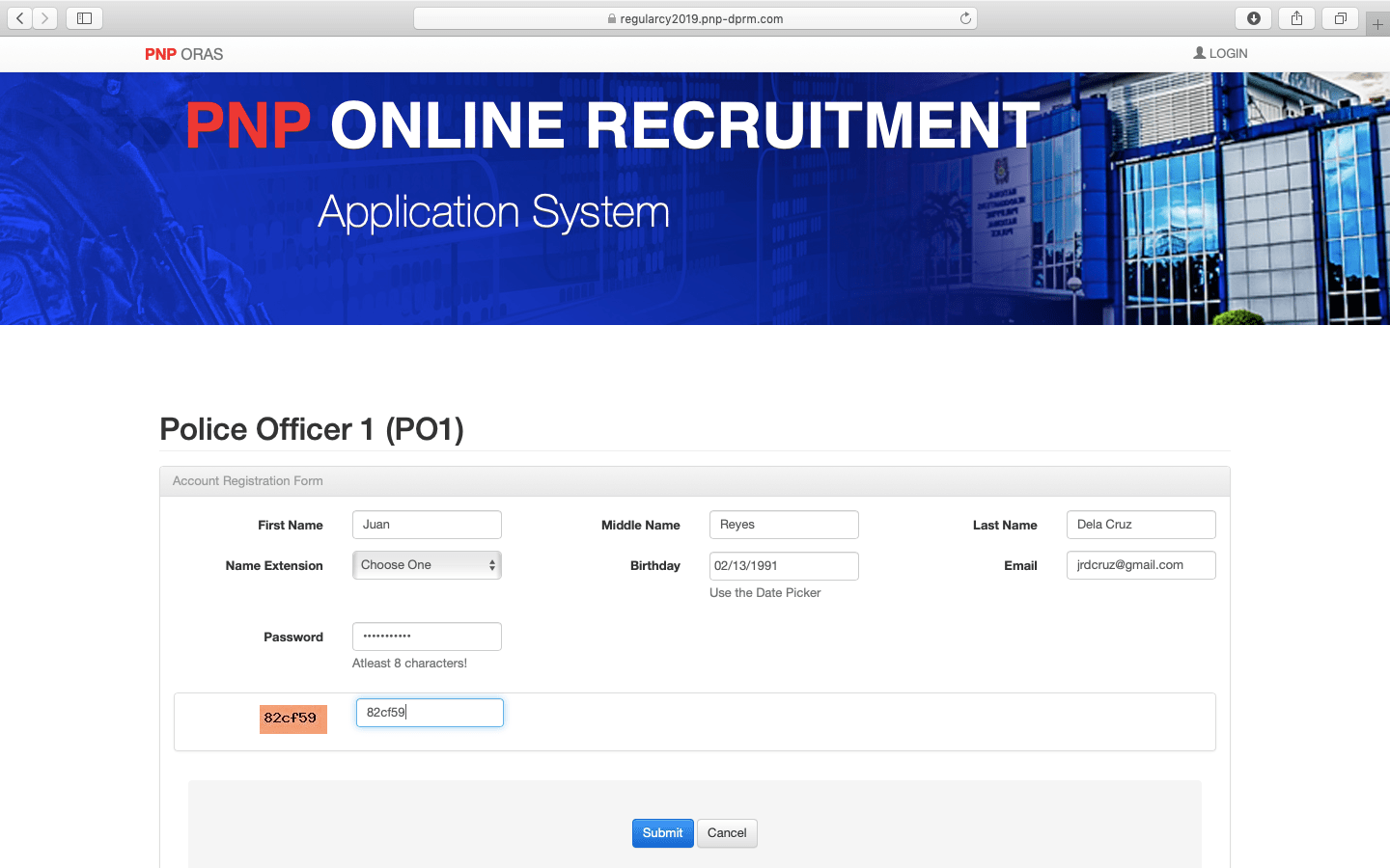 PNP Online Recruitment 2