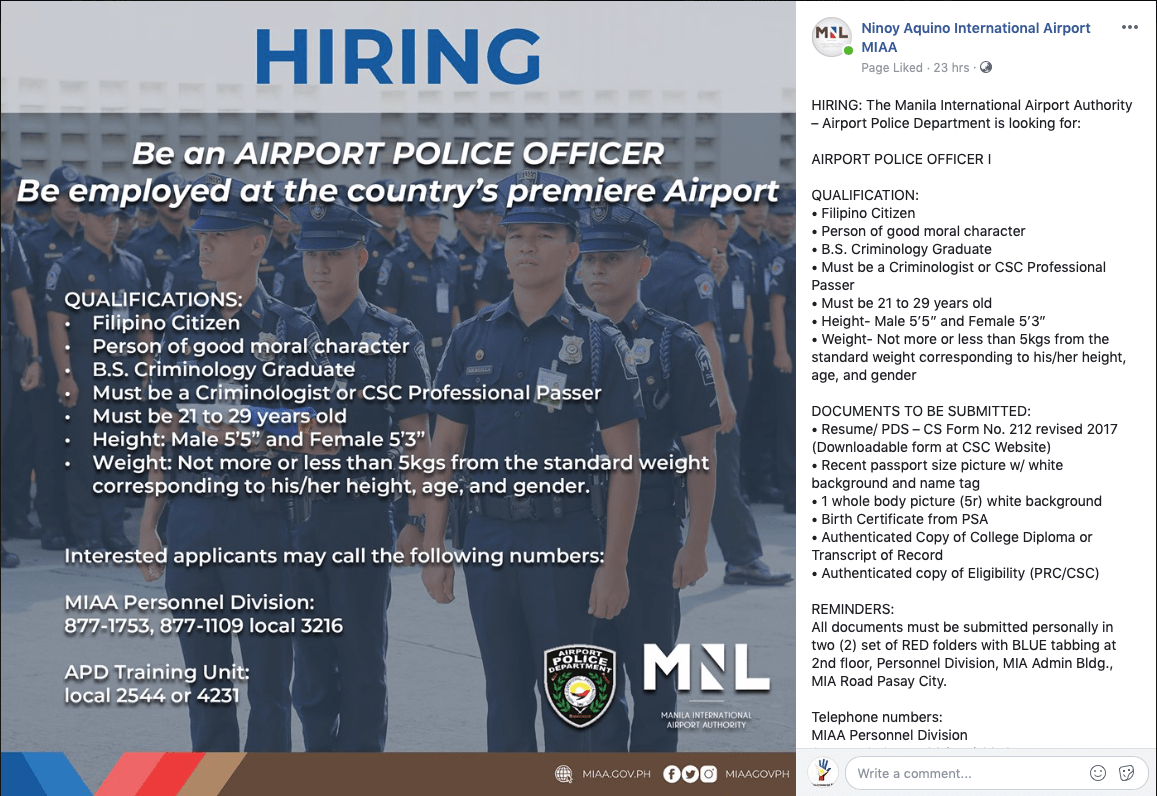 Airport Police Officers Hiring MIAA