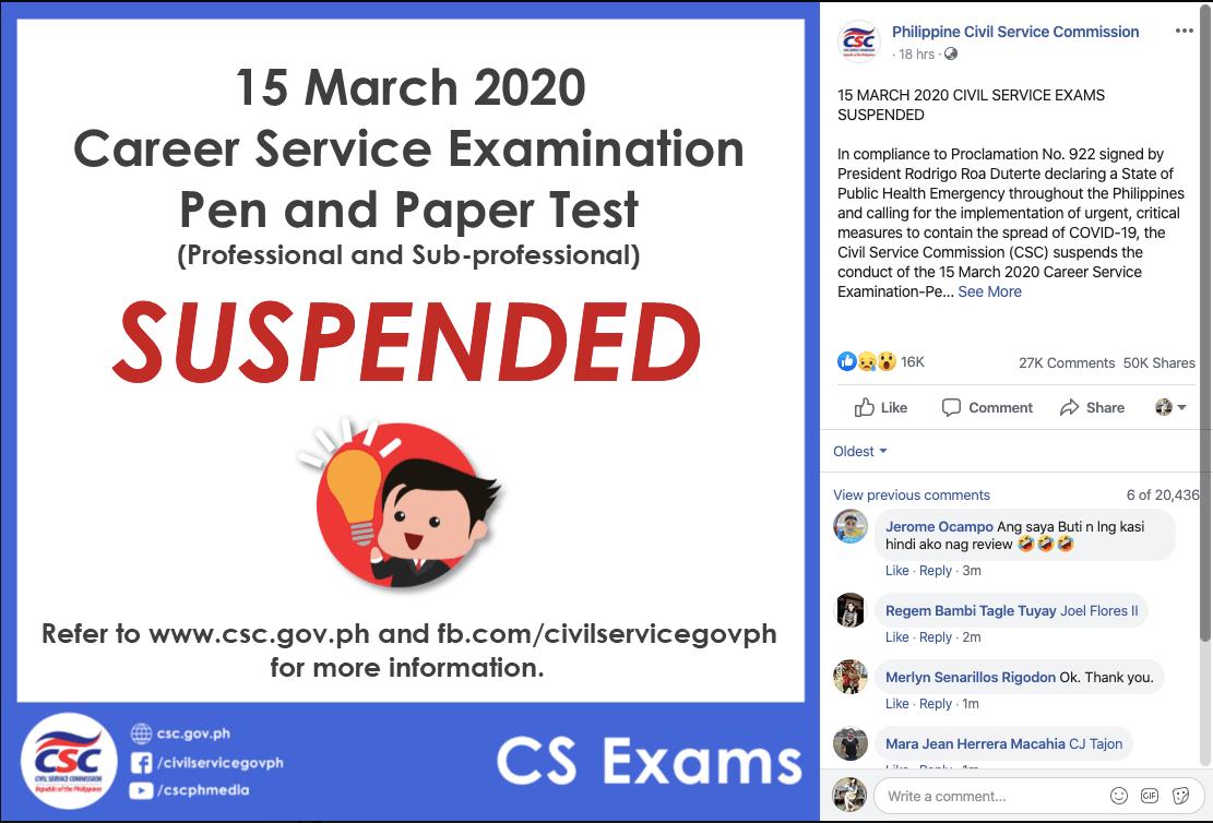 March 15 CSE Cancellation