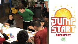 First Lady Dawn Amano-Ige at breakfast with Fern Elementary students.