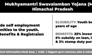 Mukhyamantri Swavalamban Yojana (MSY) Himachal Pradesh to provide self employment opportunities to the youth