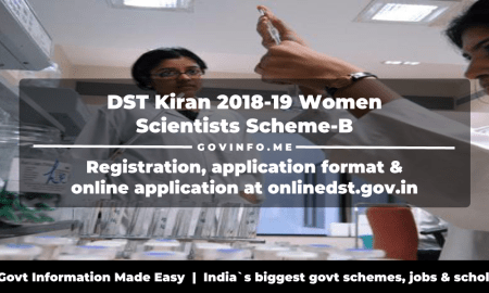 DST Kiran 2018-19 Women Scientists Scheme-B