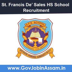 St. Francis De' Sales HS School Narengi Recruitment 2021