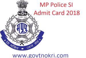 MP Police SI Admit Card 2018