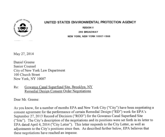 EPA Letter to NYC Screenshot