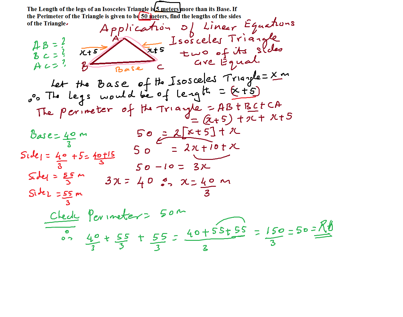 Grade 8 Linear Equations Application Problems Lesson 7