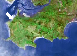 Location of Broughton bay on the Gower peninsula, Swansea, Mumbles