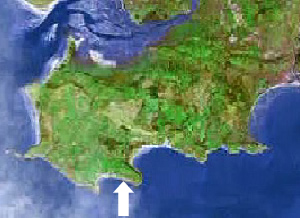 Location of Slade bay on the Gower peninsula, Swansea, Mumbles