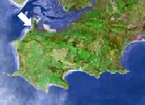 Location of Whitford Sands on the Gower peninsula, Swansea, Mumbles
