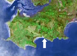 Location of Pobbles bay on the Gower peninsula, Swansea, Mumbles
